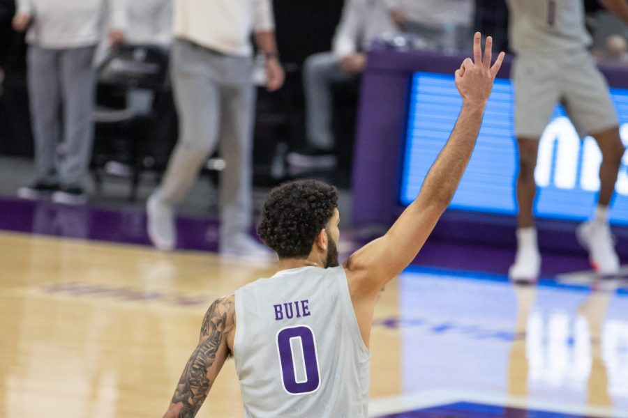 Boo Buie gestures after making a shot. The sophomore guard scored 18 points, including 12 from behind the arc, in Saturday's loss to Penn State.