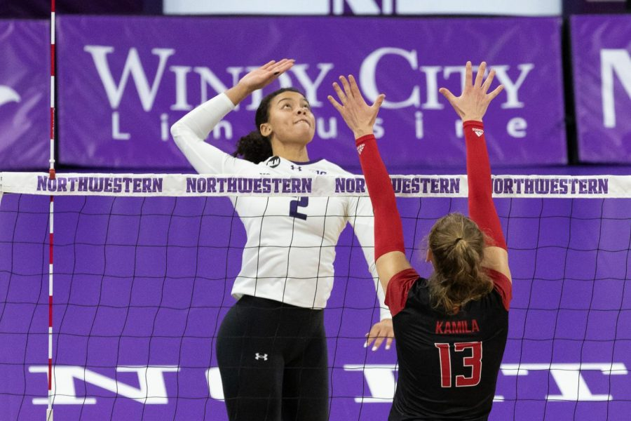 Abryanna Cannon lines up for a spike while matched up against Rutgers. On Friday, the sophomore outside hitter brought home a game-high 13 digs.