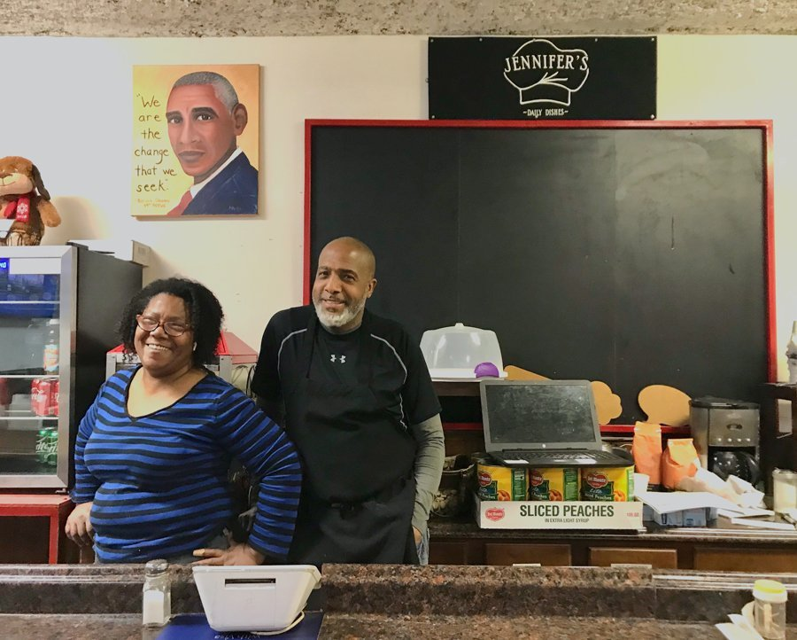 Jennifer and William Eason stand behind the counter at Jennifer's Edibles. Jennifer's Edibles is set to receive part of Evanston Community Foundation's latest round of grants.