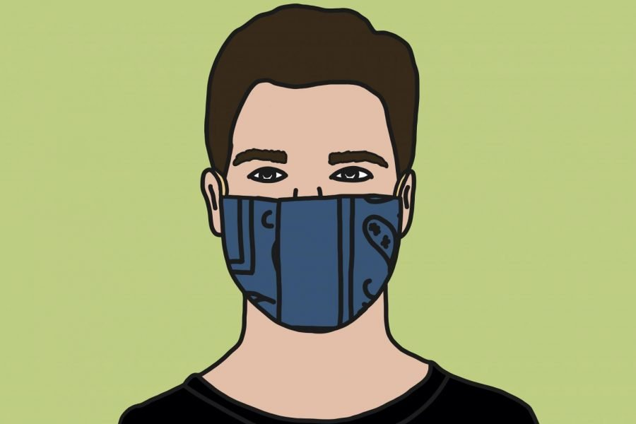 A graphic of a person wearing a homemade mask. Experts are suggesting people wear two layers of masks as more contagious COVID-19 variants spread.