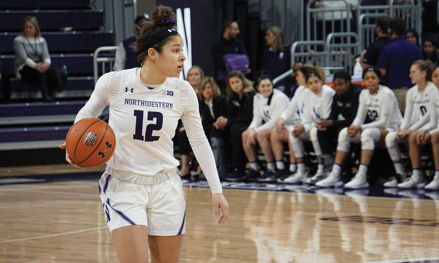 Veronica Burton dribbles the ball against Indiana in Jan. 2020. Against Wisconsin today, she was dominant, scoring 15 points, grabbing 9 rebounds and compiling 4 steals.