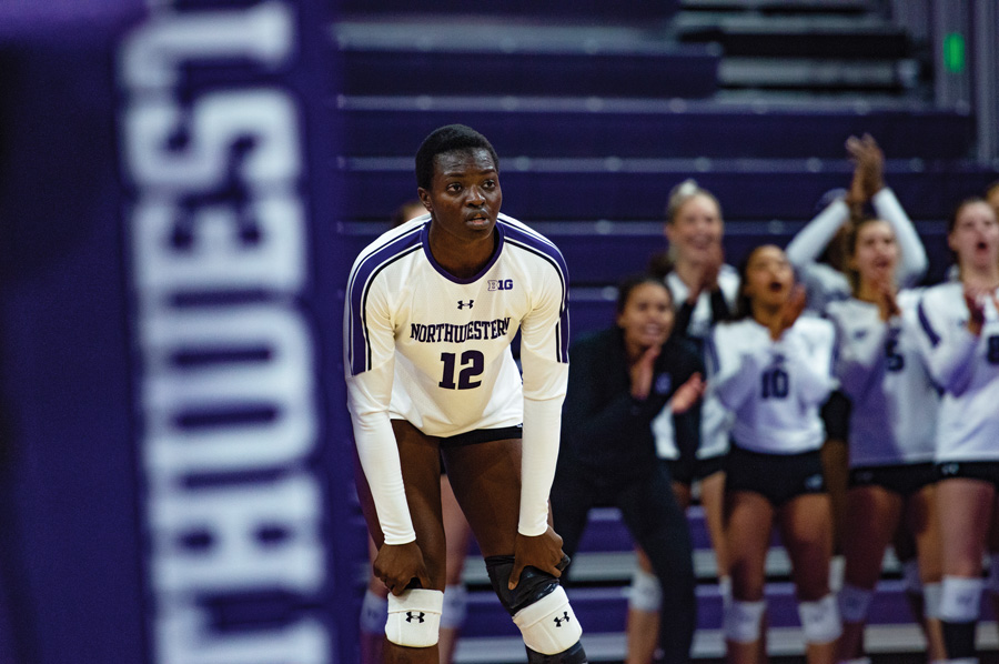 Temi-Thomas Ailara stands on the court. The freshman hitter and her team will not play tonight as Northwestern's matchups against Nebraska was postponed.