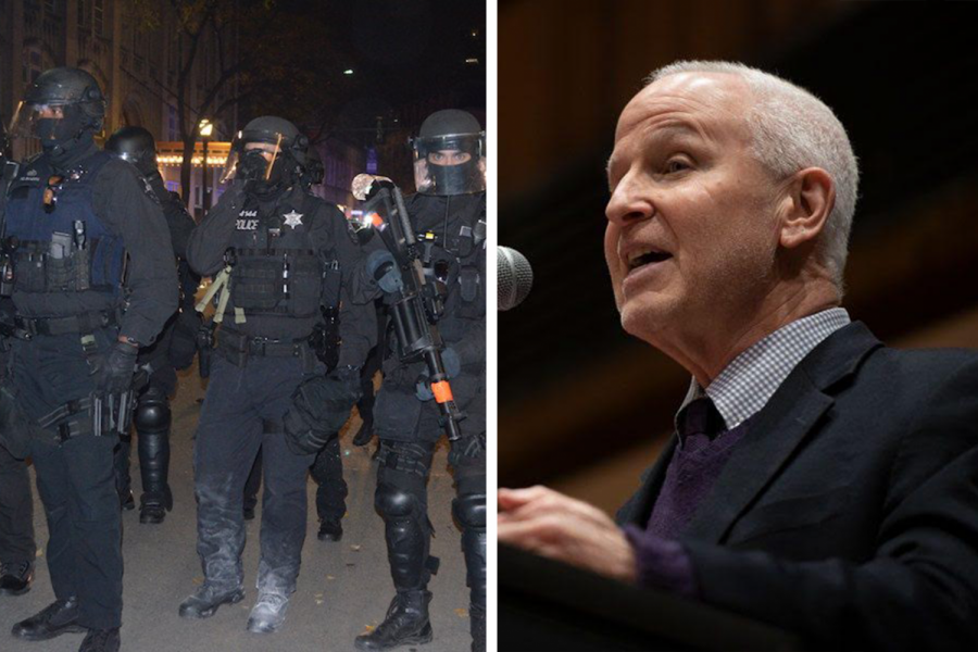 Police officers responding to a protest (left) and President Morton Schapiro. Schapiro and other administrators responded to police presence at student protests at a Tuesday live webinar with NU Community Not Cops.