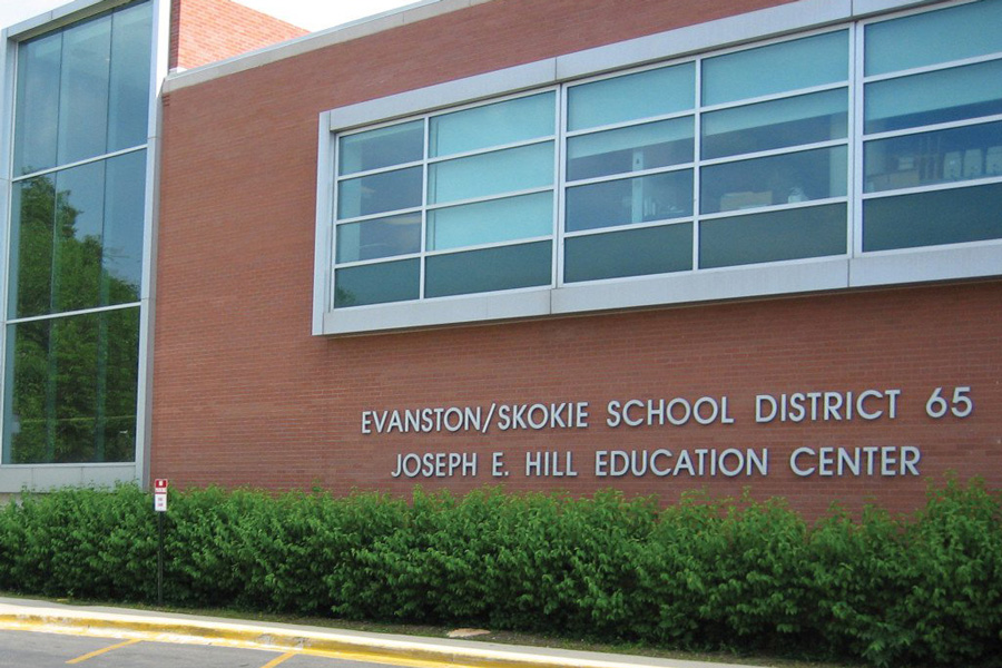 The Evanston/Skokie District 65 Education Center, at 1500 McDaniel Avenue. Members of the D65 board met Thursday to discuss recent attacks against school board members.