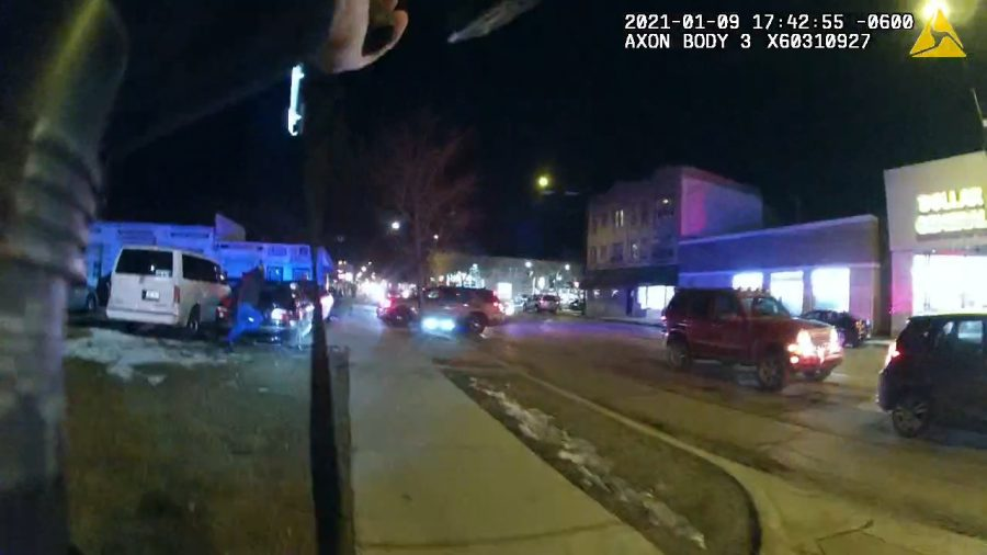 A scene from the Jan. 9 shooting outside Dollar General, captured by Evanston Police Department body camera footage. While video and audio from the night were released to press, other reports are being withheld due to ongoing investigations.
