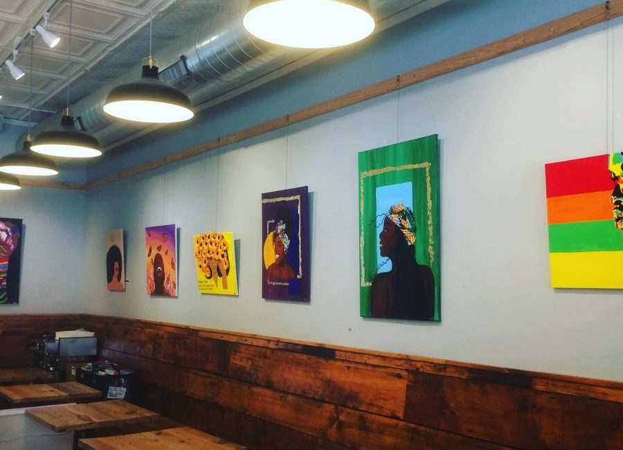 Evanston Made's show of emerging Black artists at Backlot Coffee in February. This month, Evanston Made is highlighting local Black artists and their work through their Black Art Drive.