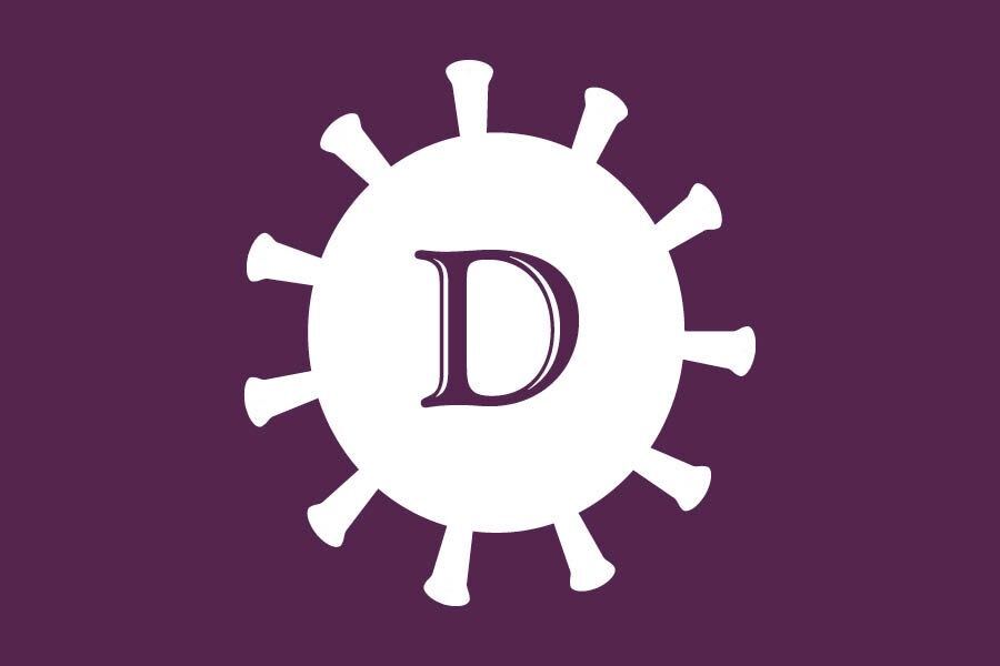 "A white cartoon illustration of the SARS-CoV-2 virus against a purple background with The Daily Northwestern's logo letter ""D"" in the center of the cartoon image."