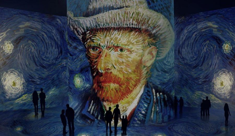 The Starry Night by Van Gogh at the Immersive Van Gogh Exhibition in Chicago. The exhibition provides a deep dive into a sea of colors and lights, featuring 60 of Van Gogh's paintings.