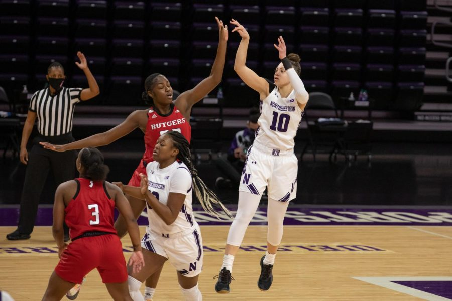 Lindsey Pulliam pulls up for her signature jumper against Rutgers. She scored 8 points Thursday afternoon.