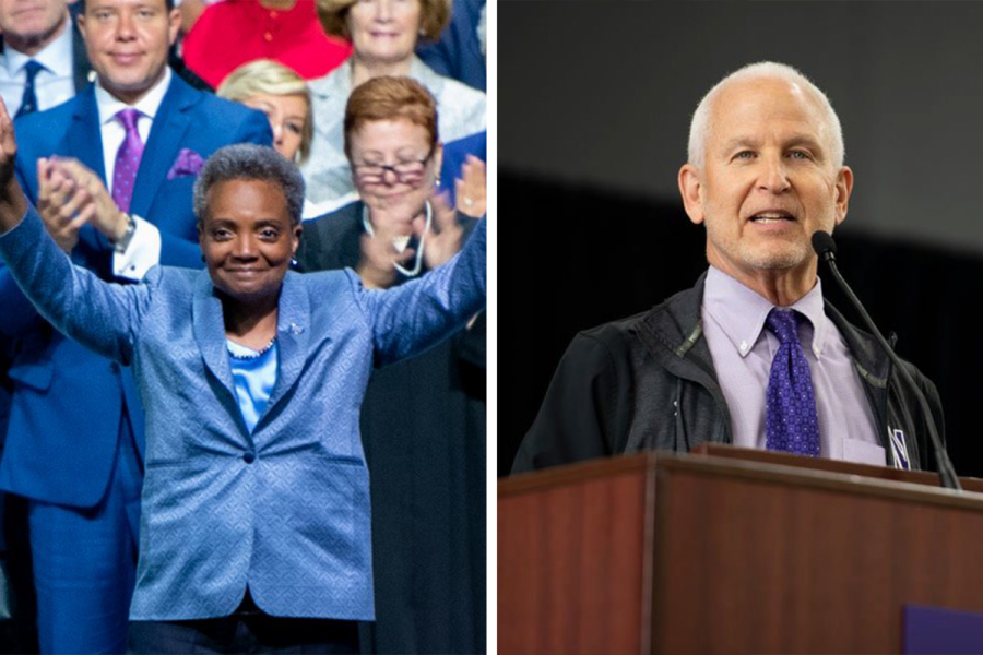 Chicago mayor Lori Lightfoot and Northwestern president Morton Schapiro. Schapiro signed a letter supporting Lightfoot.
