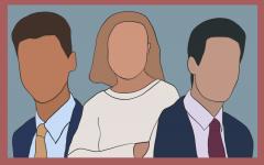 Evanston's mayoral candidates, Sebastian Nalls, Lori Keenan and Daniel Biss, from left to right.