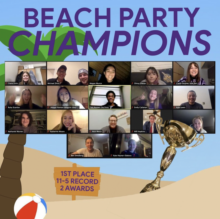 In an Instagram post, Northwestern Mock Trial congratulates the A and B team for their victory in the Beach Party tournament.