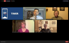 A screenshot of a Zoom meeting. 4th Ward aldermanic candidate Jonathan Nieuwsma, in the top center of the screen, talks while Ald. Donald Wilson, candidate Diane Goldring and League of Women's Voters moderator Lali Watt appear to listen. LWV Timer logo in top left of screen.
