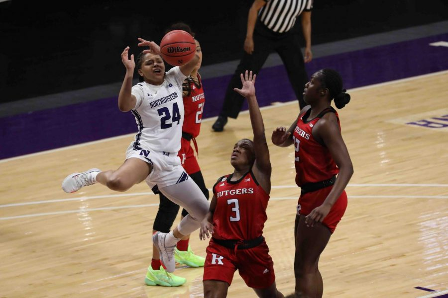 Jordan+Hamilton+has+the+ball+knocked+out+of+her+hand.+The+senior+led+the+Wildcats+with+13+points+in+NU%E2%80%99s+loss+to+Rutgers.