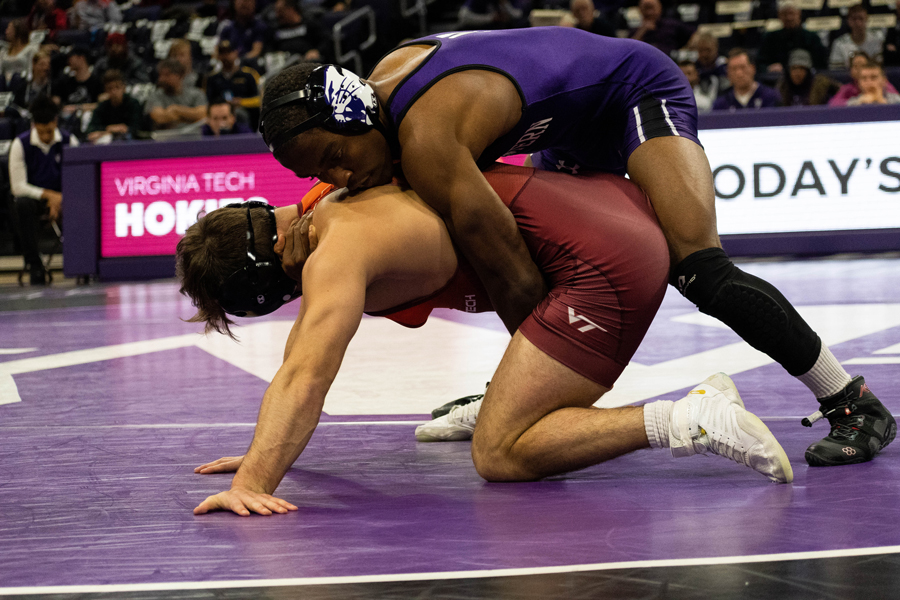 Yahya Thomas tries a takedown against an opponent. The junior is enjoying a hot start to the 2021 season, and is without a loss in five appearances since the Opener against Purdue.
