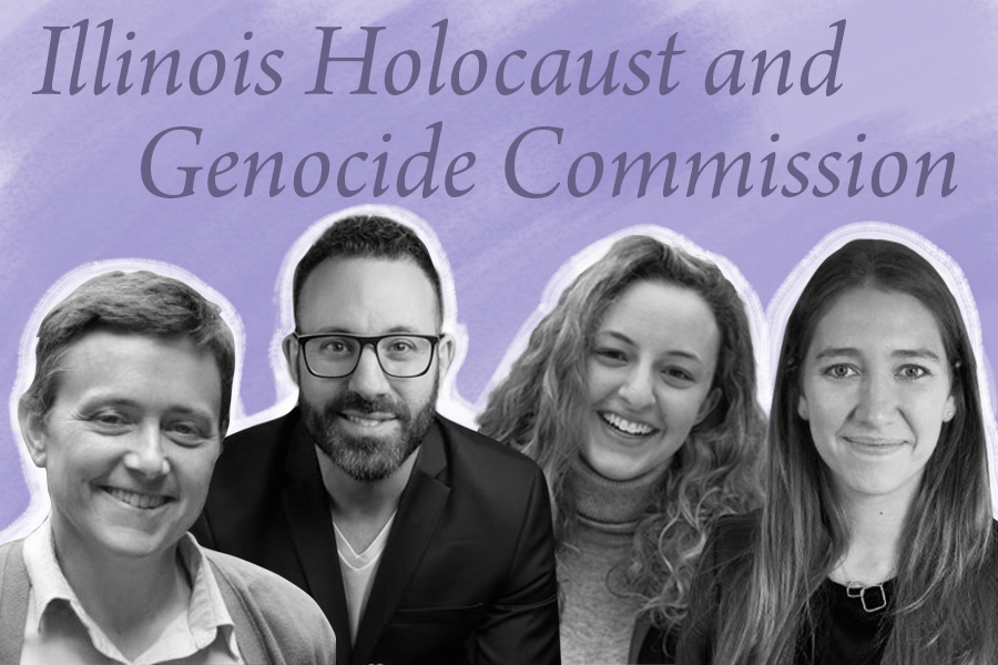From+left%2C+Sarah+Cushman%2C+Danny+M.+Cohen%2C+Charlotte+Masters+%28and%29+Samantha+Oberman.+The+four+were+among+the+six+NU-affiliated+individuals+recently+appointed+to+the+Illinois+Holocaust+and+Genocide+Commission.