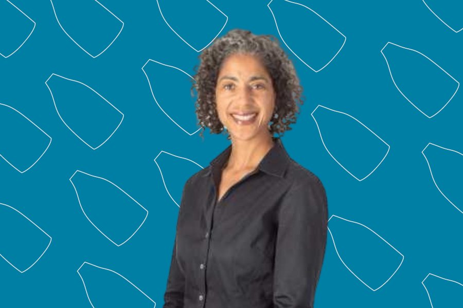 Photograph of Sociology and African American Studies Prof. Mary Pattillo imposed on a blue background filled with repeated shapes