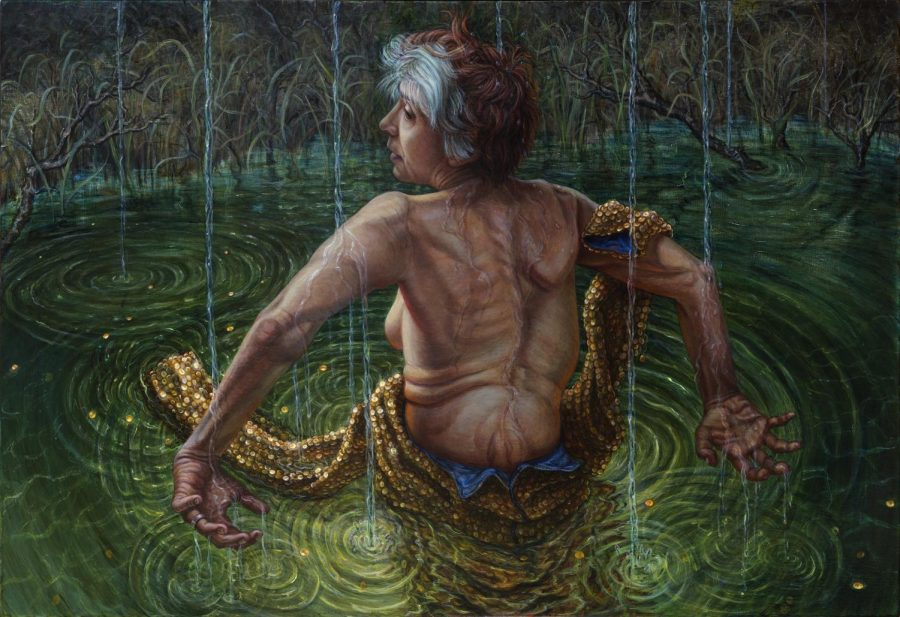 A painting of a woman in a pool, facing away and showing her back