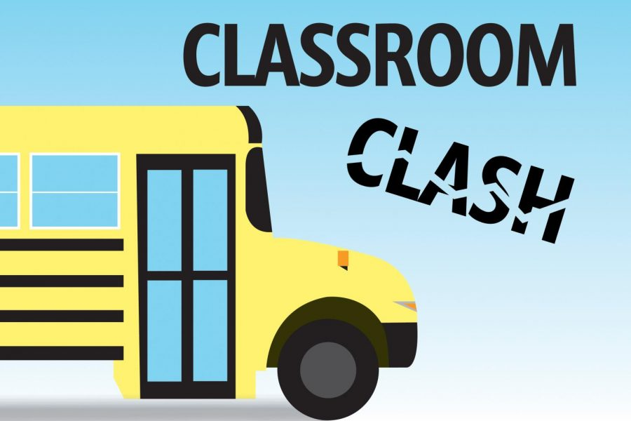"An illustration of a school bus, with the headline ""Classroom Clash."""
