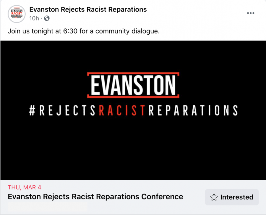 "A Facebook post by Evanston Rejects Racist Reparations says ""Join us tonight at 6:30 for a community dialogue"" above an invite to the conference scheduled for Thursday, March 4."