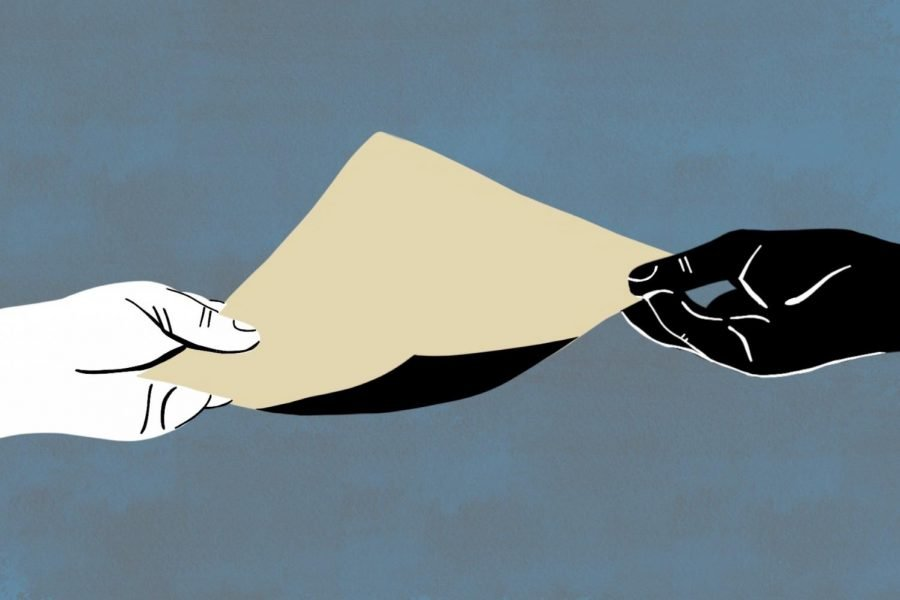 A white hand and a black hand exchange a yellow piece of paper against a blue background.