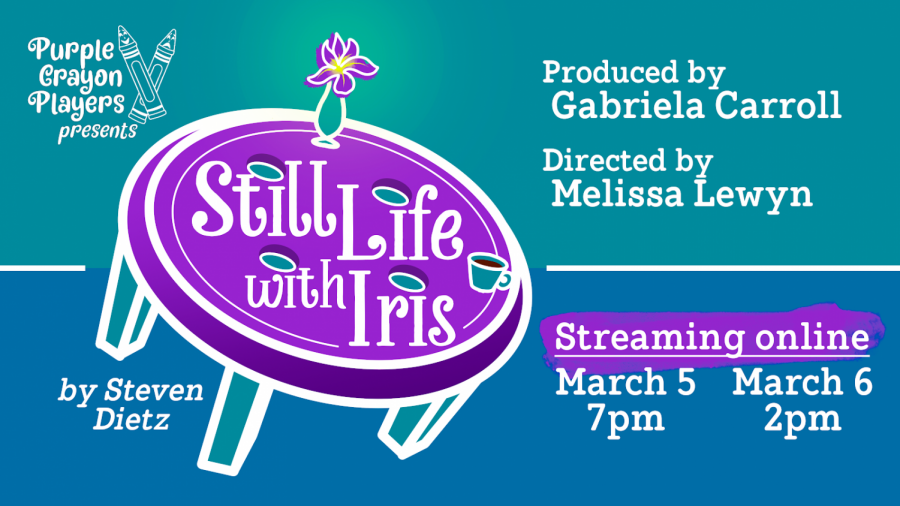 "A flyer advertising ""Still Life with Iris"" with a blue background and a purple button with flowers."