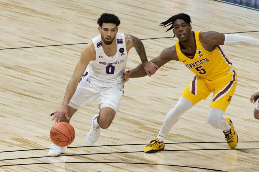 Boo+Buie+dribbles+the+basketball.+Buie+had+seven+points+in+Northwestern%E2%80%99s+season-ending+Big+Ten+Tournament+loss+to+Minnesota.