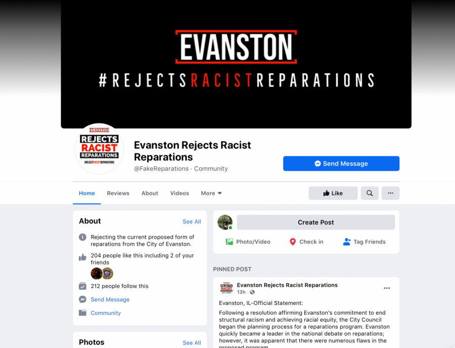A screenshot of the Facebook page for the community group, Evanston Rejects Racist Reparations.