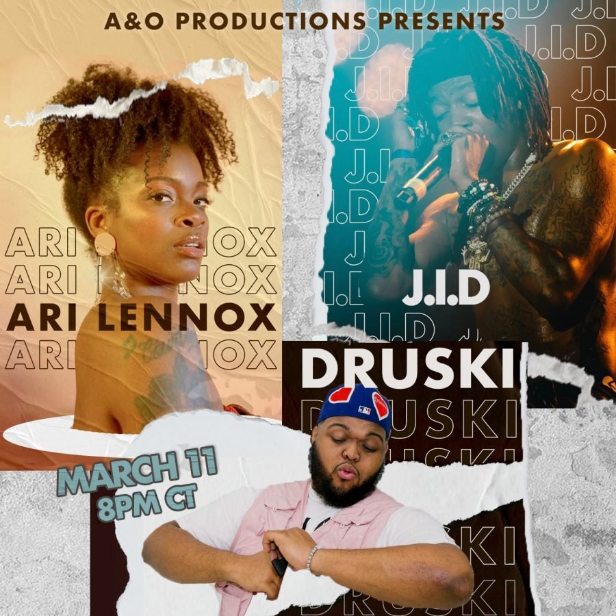 "(Left to right) Ari Lennox, posing in a photoshoot. Druski posed with a funny gesture toward the camera. Up close of J.I.D singing while at a concert. Text reads: ""A&O Productions presents Ari Lennox, J.I.D, Druski March 11 8 pm CT."""