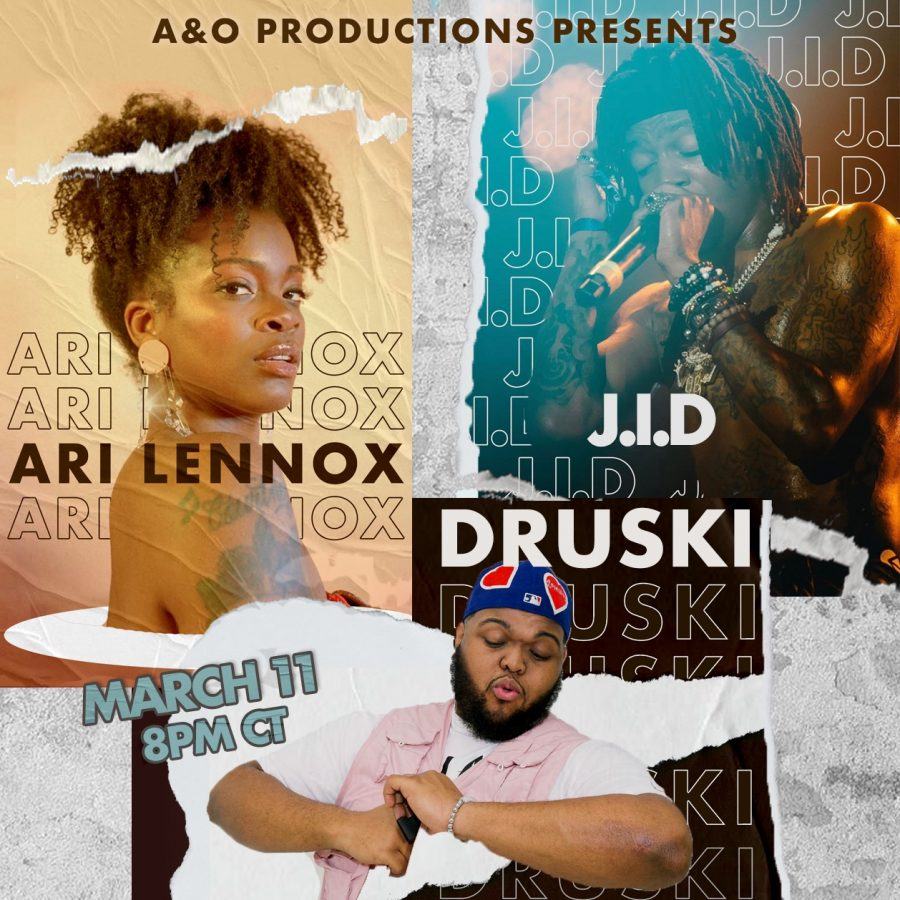 """(Left to right) Ari Lennox, posing in a photoshoot. Druski posed with a funny gesture toward the camera. Up close of J.I.D. singing while at a concert. Text reads: """"A&O Productions presents Ari Lennox, J.I.D., Druski March 11 8 pm CT."""""""