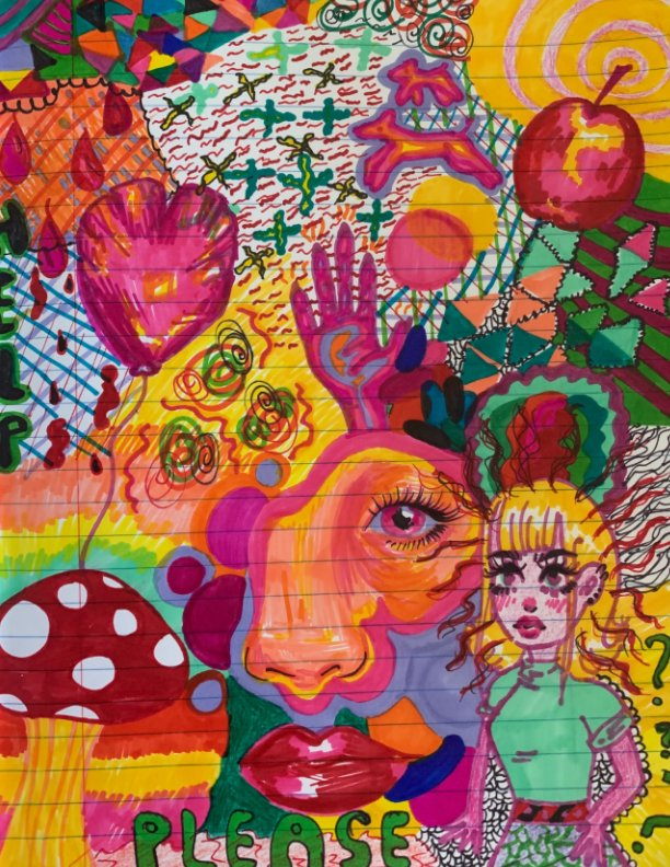 A mural of art with various colors on a notebook paper.