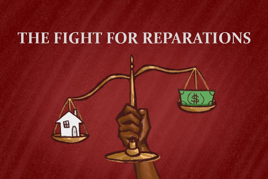 A drawing of a Black person's hand holding a scale, with a house on one side and cash on the other. Text at the top says The Fight For Reparations.