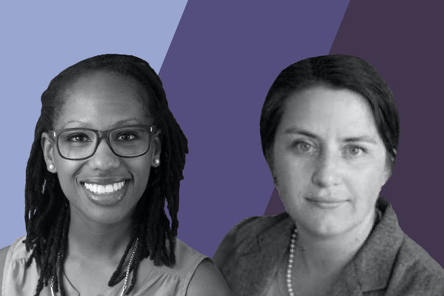 A portrait of two women in black and white, in front of a background split into three diagonal divisions, each different shades of purple.