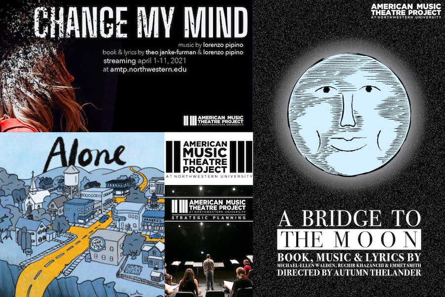 "Three posters, reading ""Change My Mind,"" ""Alone"" and ""A Bridge to the Moon."" The first poster has an abstract side profile of a girl. The second poster has a blue-and-yellow town. The last poster has a moon with a face."
