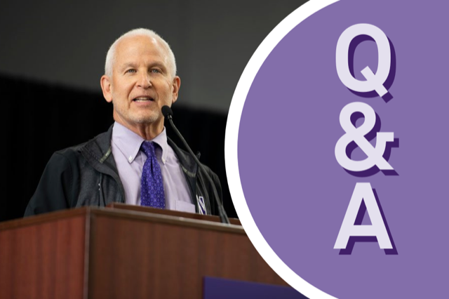 """A picture of Morton Schapiro on the left, wearing a purple tie and black suit. On the right side, white letters against a purple background reads: """"Q&A."""""""