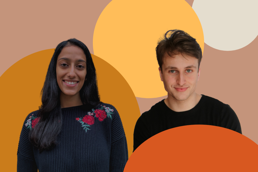 Two people standing side-by-side against a tan background with orange and yellow circles on it.