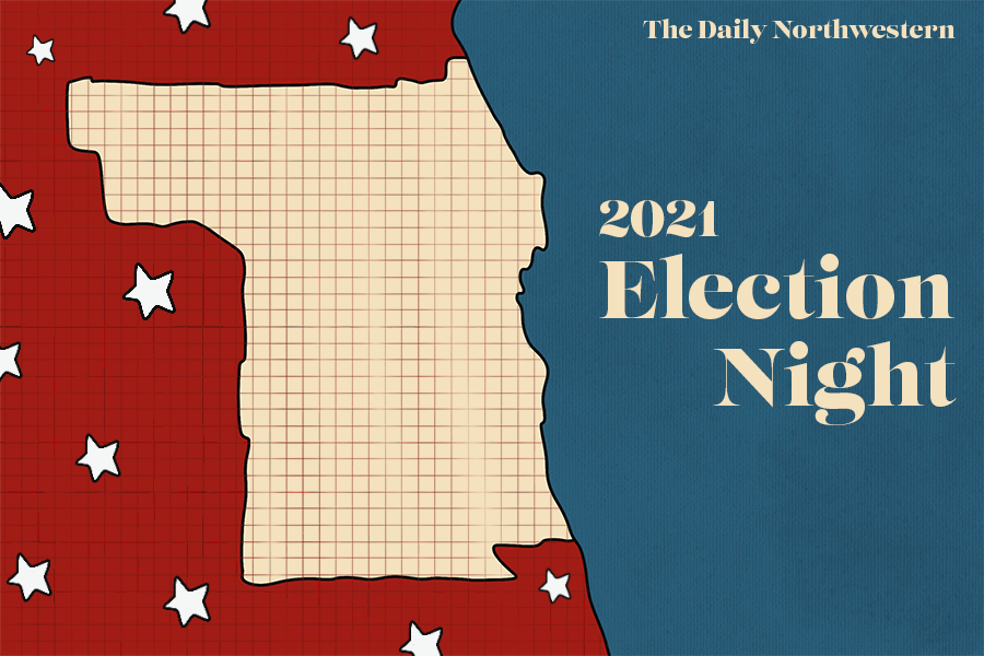 A graphic combining American flag imagery with a close-up image of Evanston, Illinois on a map. The shape of Evanston is outlined in tan with a red grid, with Lake Michigan in blue to the east and other areas of Illinois, colored in red with white stars, to the west.