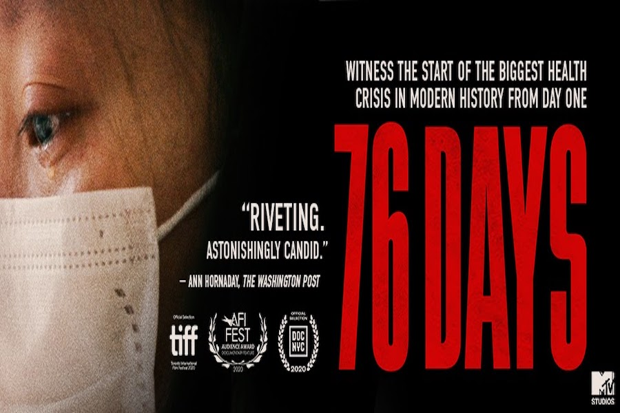 "A promotional poster for the documentary ""76 Days."" A side profile of a person wearing a face mask is on the left, with ""76 Days"" written in large red letters on the right."
