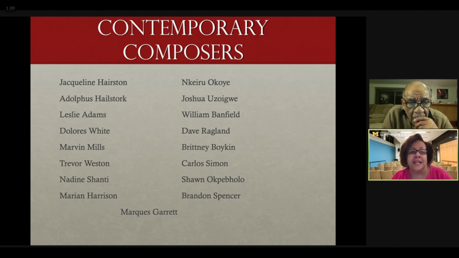 "A picture of a Zoom screen with speakers on the right side and a slide deck on the left side. The slide, with a red banner at the top reading ""Contemporary Composers,"" lists names of Black art song composers."