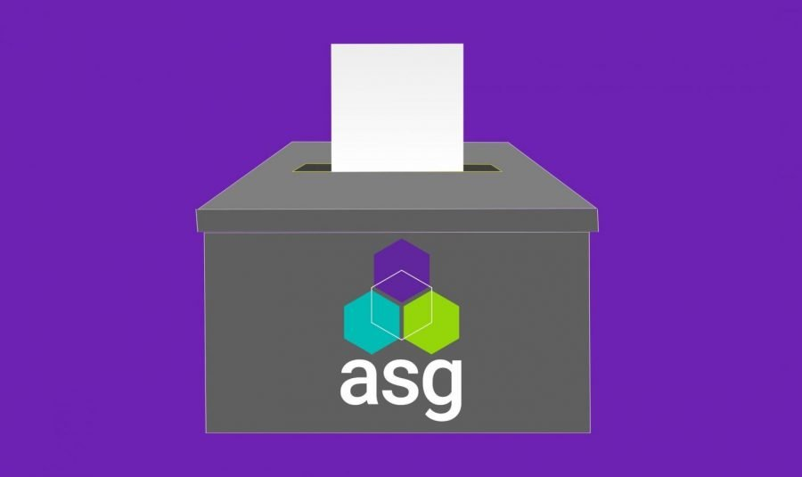 Grey ballot box and white ticket for ASG election set against a purple background.