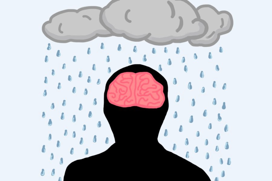 An illustration of the front view of a human head silhouette with the brain visible. Above is a rain cloud with water droplets falling.