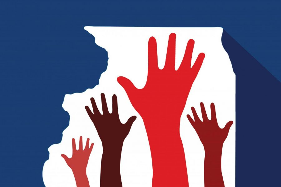 A white outline of Illinois is filled with multicolored hands against a dark blue background.