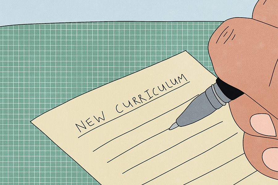 """An illustration of hand writing. """"New Curriculum"""" is written at the top of a piece of notebook paper."""