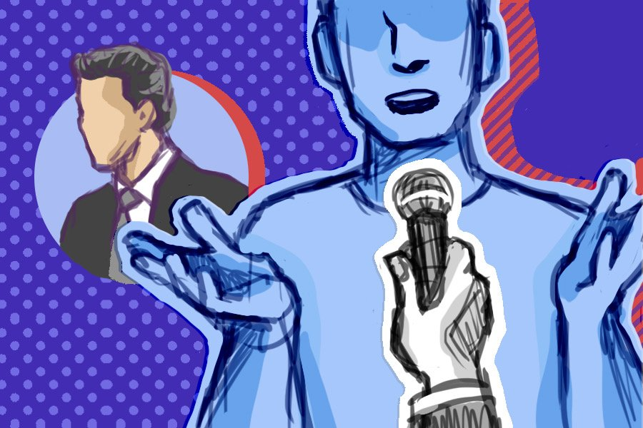 An undetailed person talking into a microphone being held in their face. In the background, bespeckled with blue dots and red accents, there is a sketch in the likeness of Mayor-elect Daniel Biss.