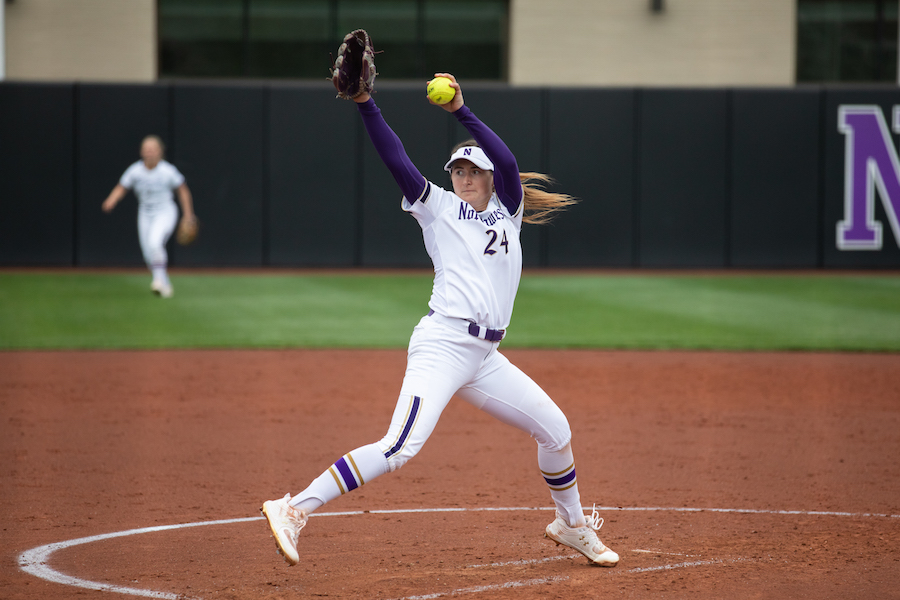 Northwestern player prepares to pitch.