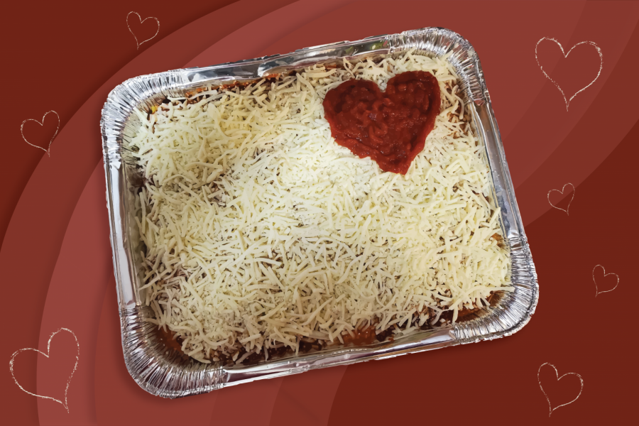 Lasagna with yellow cheese and red sauce heart in the upper right corner on a background of various shades of red with seven yellow hearts.