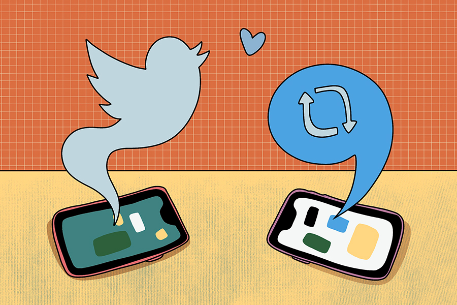 Blue twitter bird icon and blue retweet icon drawn in speech bubble coming out of two phones laying next to each other on a yellow table. There is a heart in between the bird and speech bubble. The background is orange with a white grid.