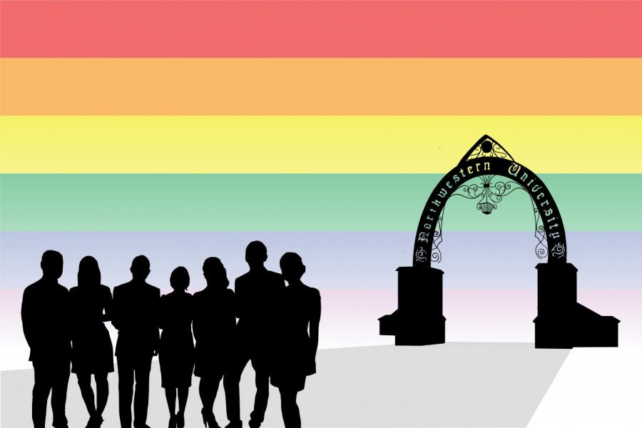 Black+silhouettes+of+a+group+of+students+and+the+Weber+Arch+with+the+words+%E2%80%9CNorthwestern+University.%E2%80%9D+The+background+is+rainbow+stripes.