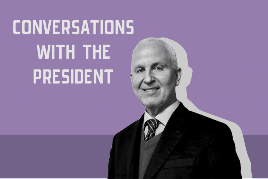 "President Morton Schapiro appears in black and white against a background horizontally divided in light and dark purple. The upper left side reads ""Conversations with the President."""