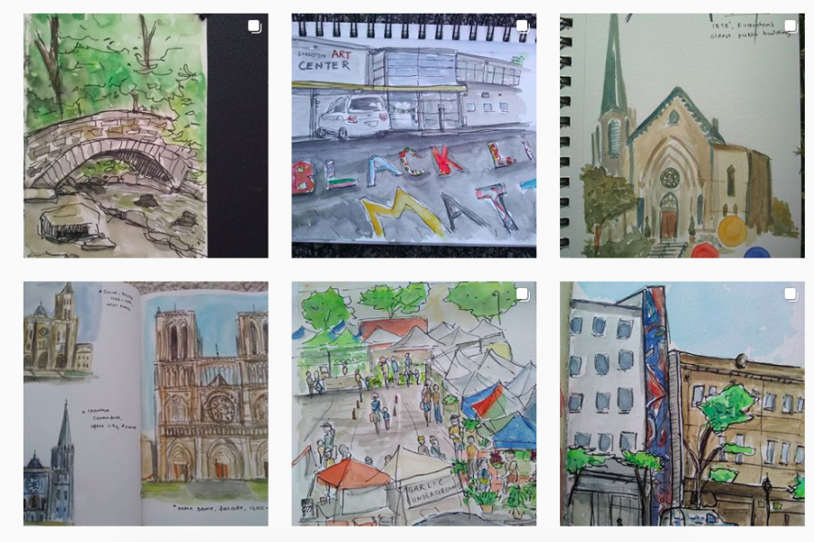 """Six watercolor sketches laid out in a rectangle. In clockwise order, beginning in the upper left corner: sketches of a bridge, street art reading """"Black lives matter,"""" a cathedral, a collection of cathedrals, a local plaza market and town storefronts."""
